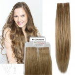 Tape On Extensions Remy Echthaar 60cm Tresse 2,5g Dunkelblond #16