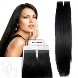 Tape On Extensions Remy Echthaar 45cm Tresse 2g Schwarz #1