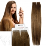 Tape On Extensions Remy Echthaar 45cm Tresse 2g Braun #6