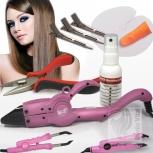 Starter Set mit Wärmezange in Pink zum Anbringen von Bonding Strähnen 8 Teile